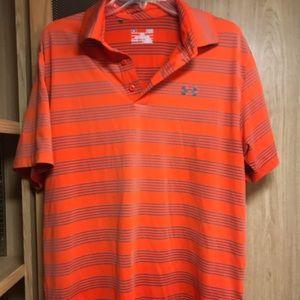 Men's large Under Armor polo shirt orange grey